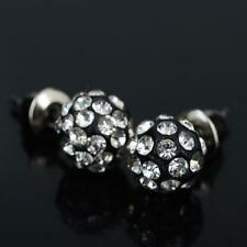 "8mm Shamballa Charming Crystal Disco Ball Bead Silver Stud Earrings ""NEW"""
