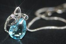 Pretty 2.5ct Created Aquamarine & Diamond Drop Pendant + Necklace