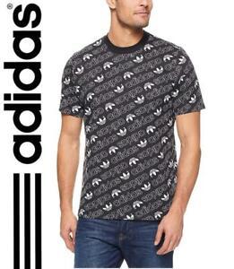 Neuf Adidas Originals Hommes Monogramme Trèfle Coton Haut Sz M - 2XL Noir