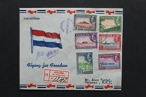 CURAÇAO 1943 Illustrated censored FDC views of the Dutch Antilles