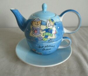 WHITTARD ~ TEA FOR ONE ~ TEAPOT & CUP & SAUCER ~ CHRISTMAS CHEERS
