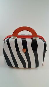 HEYS Milano Small Travel Cosmetic Bag Hard Shell Black White Zebra Pink Make Up