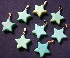 8 Blue green lt & dark chalk turquoise 30mm star pendants charms 1 3/16 in cp020