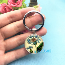 Blue Flower Art Photo Tibet Silver Keychains Rings Glass Cabochon Key chain -50