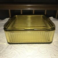 "VTG 1930s Federal Amber Ribbed Glass Refrigerator Dish w/lid 7 1/2"" square"