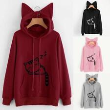 Trendy Cute Women Cat Ear Hoodie Sweatshirt Hooded Coat Tops Long Sleeve Blouse