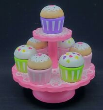 Wooden Pretend Play Toys Food - High Tea CupCake Set with Stand Cake