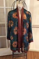 DILEMMA by DHUN SHROFF ~ ART TO WEAR Hand-Painted Silk Open Jacket/Blouse Medium