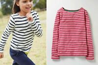 Mini Boden cotton Breton striped white Pink Red Top Blouse T shirt 2-16 years