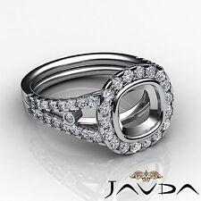 Diamond Engagement Ring Cushion Semi Mount 18k White Gold Halo Bezel Set 1.11Ct