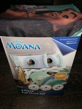 Moana ~ NEW 4 Piece Sheet Set Full Flat Fitted Pillow Cases Disney