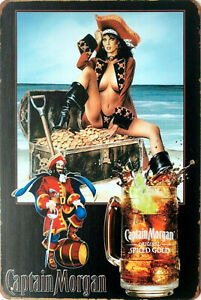 Captain Morgan Spiced Rum pin up girl pirate tin metal sign MAN CAVE brand new