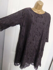 DOROTHY PERKINS ● size 18 20 ● grey lace tunic dress womens ladies