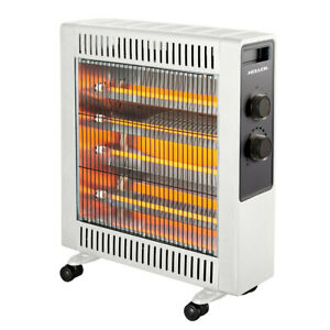 Heller 2200W Electric White Quartz Radiant Heater Floor w/ 2 Heating Setting