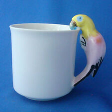 coffee cup figural ceramic mug yellow & pink parrot figurine handle