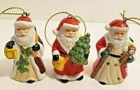 3 Small Santa Ceramic Ornaments 2 3/4 inches Tall