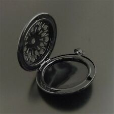 38280 Black Color Flower Hollowed Shaped Alloy Locket Pendant Jewelry Craft 4pcs