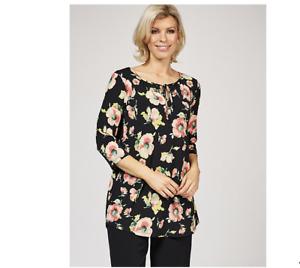 Kim & Co Printed Brazil Knit 3/4 Sleeve Tie Tunic Black Multi Size XS BNWT