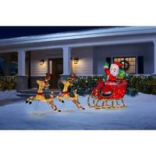 Outdoor Santa Reindeer Sleigh Yard Decoration Display Holiday Christmas Decor