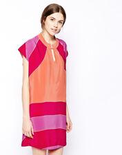 See By Chloe Silk Color Block Short Sleeve Shift Dress XS 0 2 Pink Purple V-Neck
