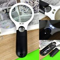Weiß + Schwarz 40X / 5X Handheld Schmuck Lupe 3 LED-Licht Leselupe Lupe