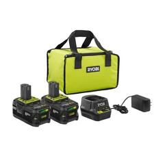 NEW - RYOBI P166 PSK003 18V ONE+ LITHIUM 4.0 Ah Battery 2 Pack Starter Kit !!!!!