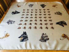 VINTAGE FRENCH HAND ROLLED SILK TWILL SCARF.  DOGS!  34 x 33 INCHES.  FAB! (