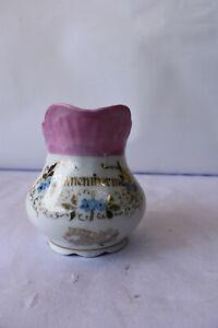 """Antique German Porcelain Remember Me Jug Pitcher Milk Pot Gilt Flower Design """"K3"""