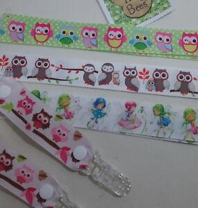 MITTEN CLIPS x 1pr Owls Fairies girls boys kids glove keepers mitten savers