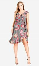 CITY CHIC S 16 NWT RRP $129.95 DRESS ROSE PICNIC FLORAL SUMMER