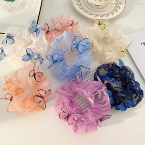 Women Butterfly Printed Scrunchies Elastic Hair Ties Band Mesh Hair Rope Rings