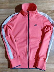 Nike Womens Tracksuit Top Jacket Sweatshirt Coral Scarlet Striped