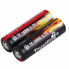 2pcs Trustfire AA 14500 900mAh 3.7V Li-ion Protected Rechargeable Battery B9