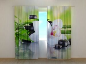 3D Photo Curtain Printed with Bamboo Branches and White Orchid Made to Measure