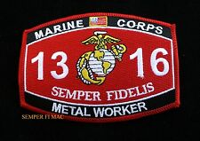 MOS 1316 METAL WORKER US MARINES PATCH PIN UP SCHOOL SEMPER FIDELIS WOW GIFT