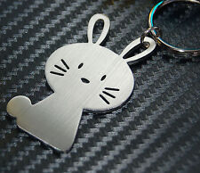 BUNNY Rabbit Cute Animal Gift Keyring Keychain Key Fob Stainless Steel Bespoke