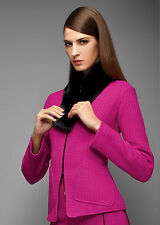 NWT Lafayette 148 New York Patricia Cerise Pink Abbey Tweed Jacket Coat 10 $598