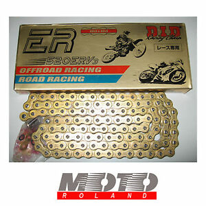 CATENA MOTO DID 520 ERV 7 ORO 116 maglie G&G X-RING Modello 202 38,5 KN NEW