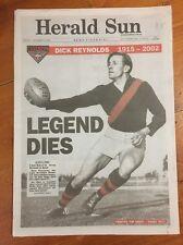 2002 HERALD SUN 'Dick Reynolds' LEGEND DIES - FULL NEWSPAPER Excellent Condition