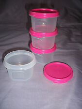 Tupperware set of 4 small round 1 modular mates pink seals storage containers