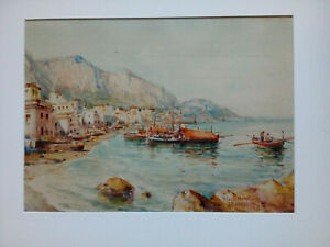 """"""" Naples, Italy 1917 """" Large Watercolour Signed? And Dated 1917"""