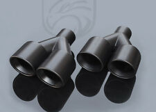 "Black Exhaust Muffler Tips Dual Staggered 3"" L&R Quad Set 2.25"" ID 9.5"" Long"