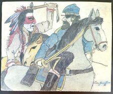 Original Indian School Ledger Drawing. Cain Green Tree 1916.