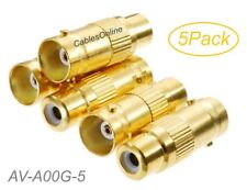 5-Pack RCA Female to BNC Female Gold Plated 75ohm Coax Adapter, AV-A00G-5