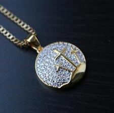Hip Hop Small Gold Jesus Piece Cross Necklace Chain Set