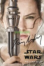 """Daisy Ridley Rey Star Wars The Force Awakens Reprint Signed 12x18"""" Poster RP"""