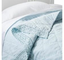 New Simply Shabby Chic Cottage Linen Blend Blue Crochet Lace Trim Quilt - King