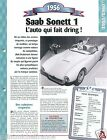 Saab Sonett 1 Roadster Sport 3 Cyl. 1956 Sweden Car Auto Retro FICHE FRANCE