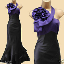 Karen Millen Purple Rose Corsage One Shoulder Cocktail Maxi Long Gown Dress UK14