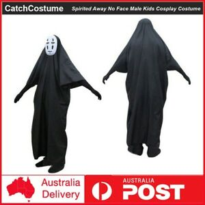 Kids Spirited Away No Face Male Cosplay Costume Mask Halloween Party Fancy Dress